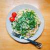 4/25(土)大葉ペペロンチーノ、戻り鰹生姜漬け丼、パン