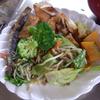 幸運な病のレシピ( 935 )朝:青梗菜ともやしの炒め、鮭、かぼちゃ煮、味噌汁