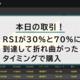 本日のトレード!!RSIが30%と70%に到達して逆方向に折れ曲がったタイミングで購入