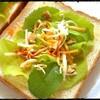 自家栽培リーフでサラダトースト