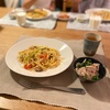 鯖と野菜のパスタ、蓮根のたらこマヨサラダ