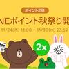 LINE Pay ポイント2倍キャンペーン実施中!11月30日まで100円4ポイントに増量中!更に上乗せも!