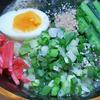 7月25日(日)昼食の博多ラーメンと、夕食の冷しゃぶ。