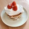 朝ご飯:のせるだけ!簡単ショートケーキ風ホットケーキ☆子どもと作れる朝ご飯