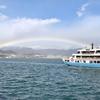 広島県 宮島から広島駅へ 、桟橋では海にかかる大きな虹、広島駅ビル「ねぎ庵」広島風お好み焼で昼食