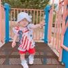 【着画いっぱい】100均の手ぬぐいで4th of July用の赤ちゃんワンピを手作り♡!