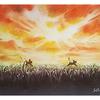 夕暮れの草原(パステル画)