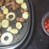 豚焼き、トマトポン酢、味噌汁