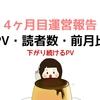 初心者のブログ開設 4ヶ月目運営報告【PV・アクセス数】