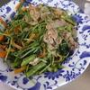幸運な病のレシピ( 1405 )朝:空芯菜と豆苗の豚バラ炒め、鱒、塩サバ、味噌汁