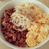 【1ヵ月自炊】卵と鶏のそぼろ丼ともやしのナムルを作ってみた(2日目)