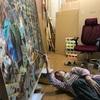 100号大作の仕上げワニス塗りと、近況報告の私