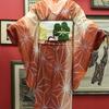 白地に赤暈し縞に麻の葉単衣小紋×白地カタバミ柄織袋帯