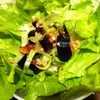 素揚げ茄子とサニーレタスの塩麹すだち和えサラダ