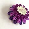 36日目 デザイン1 丸つまみの髪飾り「紫ぼたん」