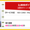 【ハピタス】REX CARDが期間限定2,800pt(2,800円)! 年会費無料! ショッピング条件なし!