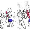 【イラスト】 キックボクシングジム 上級者とミット練習!② プロの試合に出ちゃうレベルの人の場合。