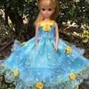 ブルーに黄色のお星さまドレス