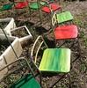 椅子のペイント&花苗植栽