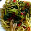 空芯菜と舞茸の中華風スパゲッティ