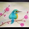 水彩画31枚目「紅梅と♠のカワセミ」