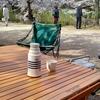 クルマにこのテーブルを積んでいけば、外でお茶を飲むだけで楽しい!ケヤキのテーブル買ってみた。