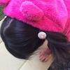 手作りくるみボタンのヘアゴムを付けていただきました