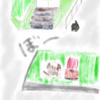 【絵】【お散歩】黒猫さんとぼーっとしました