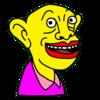 にっこり微笑む黄色い人 の無料イラスト