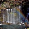 静岡県富士宮市にある名所、白糸の滝の紅葉から河口湖の紅葉