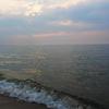 鳥取砂丘から見た、夕日の道。