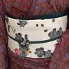 【着物コーディネート帖】しょうざんウールの着物に梅と蝶々の縮緬帯