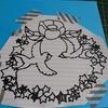 切り絵「椿とツバメ」