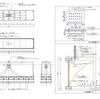 ファサード吊りボーダーの姿図と各部詳細図