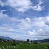 八ヶ岳と空とハートの雲とひまわり~♪