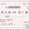 苫小牧駅復路専用乗車券