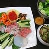 海鮮丼、うなきゅう、ブロッコリー、味噌汁、ゴーヤ佃煮