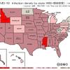 米国、新型コロナウイルス【感染密度】、州別・日別・推移一覧 (米国 7月30日現在)