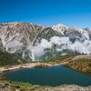 秋晴れの白馬三山と八方池