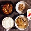 野菜煮物、麻婆豆腐、小粒納豆、バナナヨーグルト。