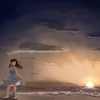 背景ワンドロ(自主)『海辺』と習作 (アナログ1枚、デジタル1枚)