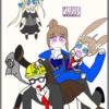 漆うしるさんと看板娘達(風子ちゃん、ユキちゃん、シャルちゃん)を描きましたぞ!!~はてなブロガー様を描かせていただく~