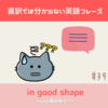 in good shape【直訳では分からない英語フレーズ#39】