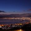 諏訪湖の夜景と御神渡り