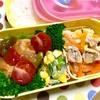ヨメさん弁当~豚丼の具・酢鶏・キュウリとコーンのサラダ~
