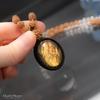神秘の朝焼けラブラドライト♪インスピレーション(第六感)を高めたいあなたへ!キラキラ!ラブラドライトの高品質ルドラクシャマーラーペンダント(菩提樹の実)第2・3・4・7チャクラ対応