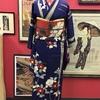 青地椿と竹小紋×赤地白椿名古屋帯