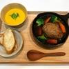 【献立・一汁一菜】パンor白米+和風煮込みハンバーグ+かぼちゃのポタージュ