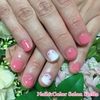 SMAPメンバーカラーでお誕生日をお祝い♡ピンクと水彩画風ローズフラワーネイル☆ジェル