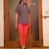 ゆるずるTシャツを上品に魅せる縦長のIラインコーデ